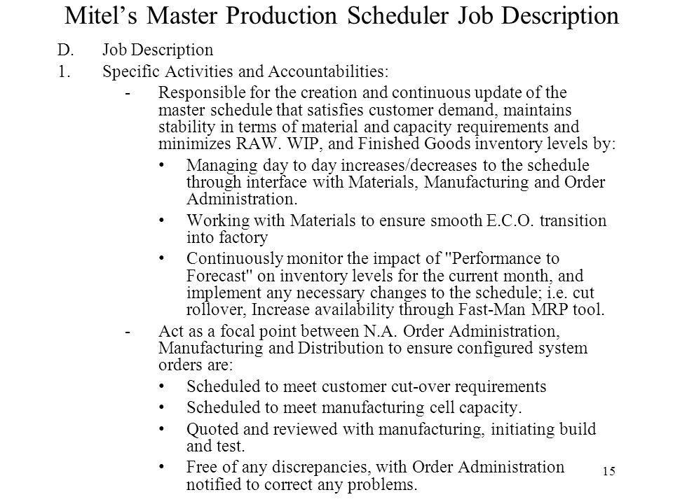 Wonderful Description Session 8 Master Production Scheduling Mps U2013 Managing The  Mps Master Scheduler Job   Production