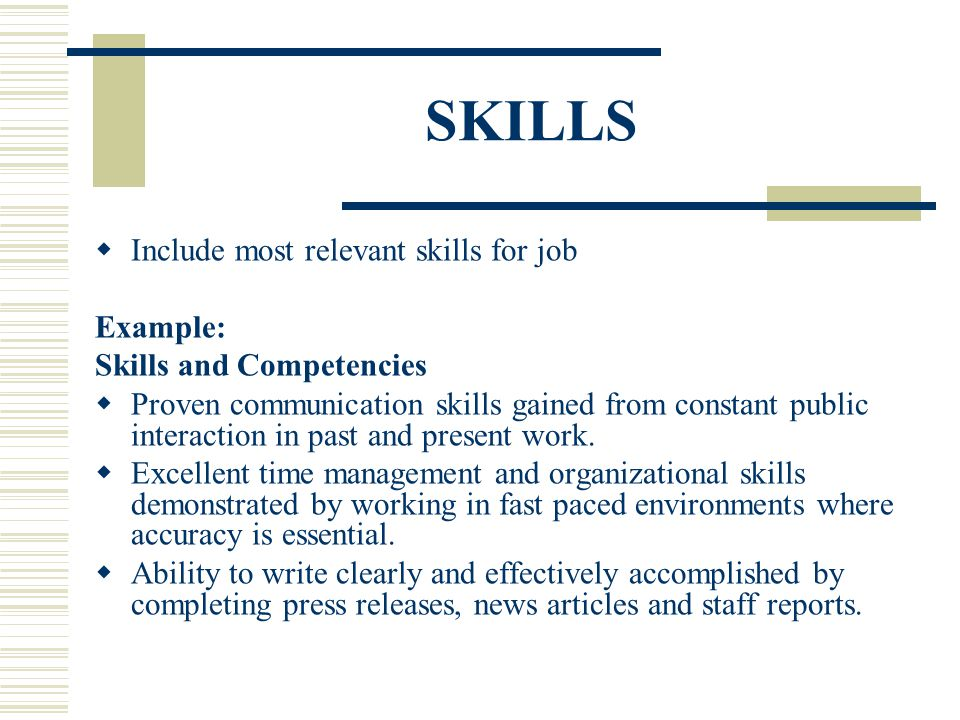 resume relevant skills examples - Alannoscrapleftbehind - skills to include in resume
