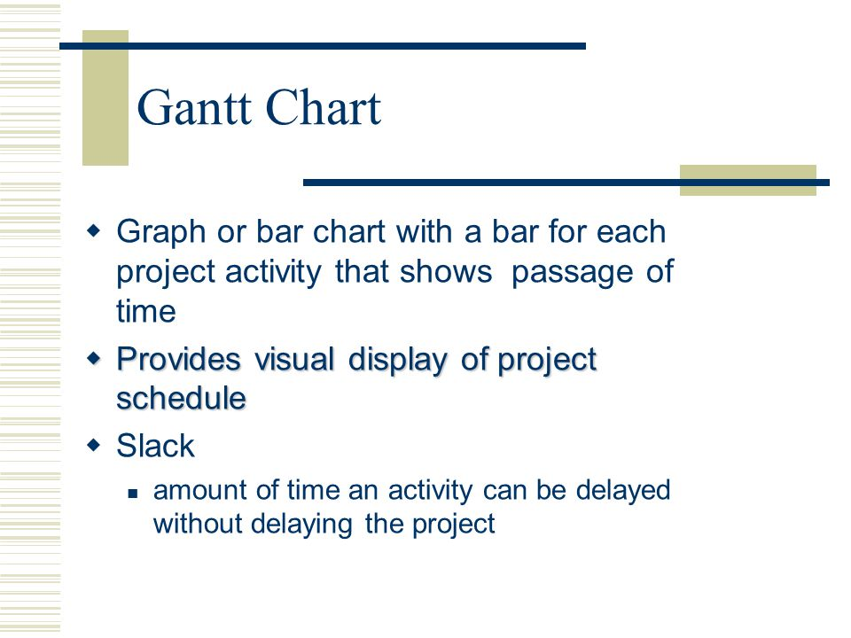 Gantt Chart Graph or bar chart with a bar for each project activity - schedule graph