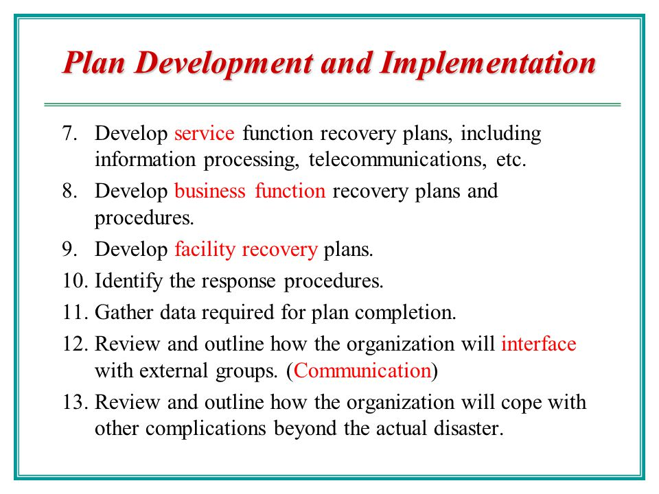 Business Continuity Chao-Hsien Chu, PhD - ppt download - recovery plans