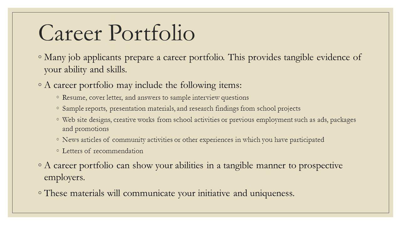 resume portfolio items