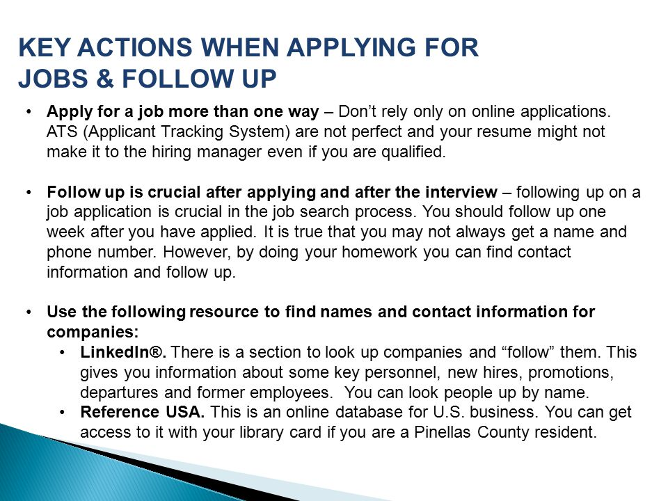 how to follow up on an online job application intoanysearch