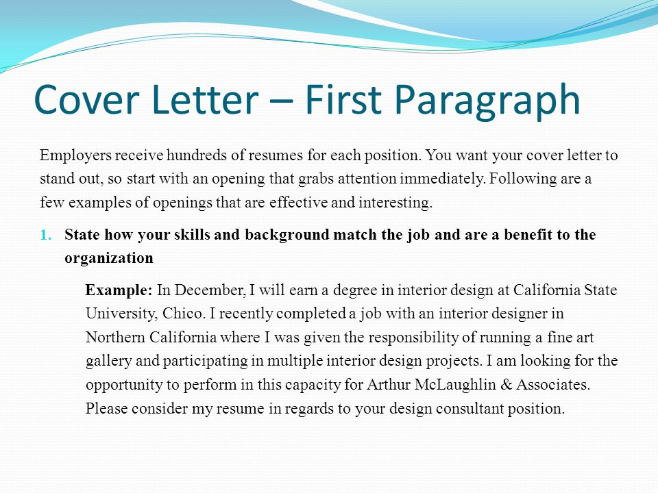 cover letter opening paragraph example