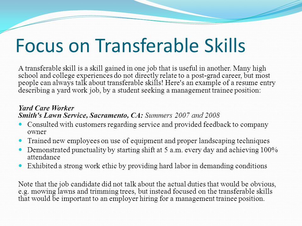 Career Project \u2013 Part III - ppt video online download - resume transferable skills