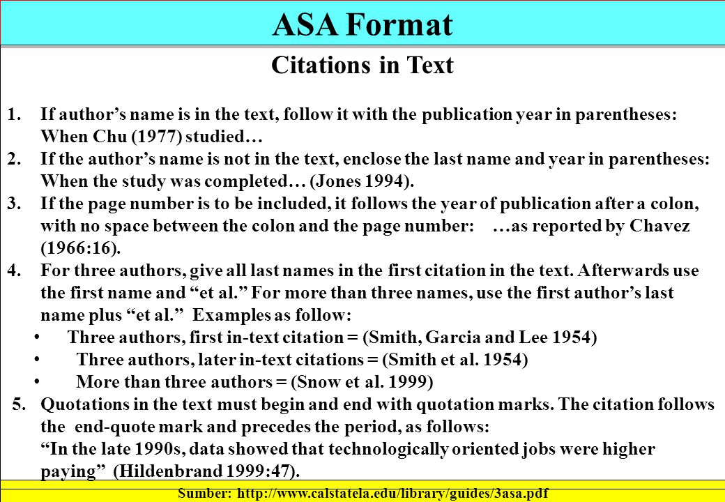 Asa format citation, Homework Academic Service - Asa Essay Format Example
