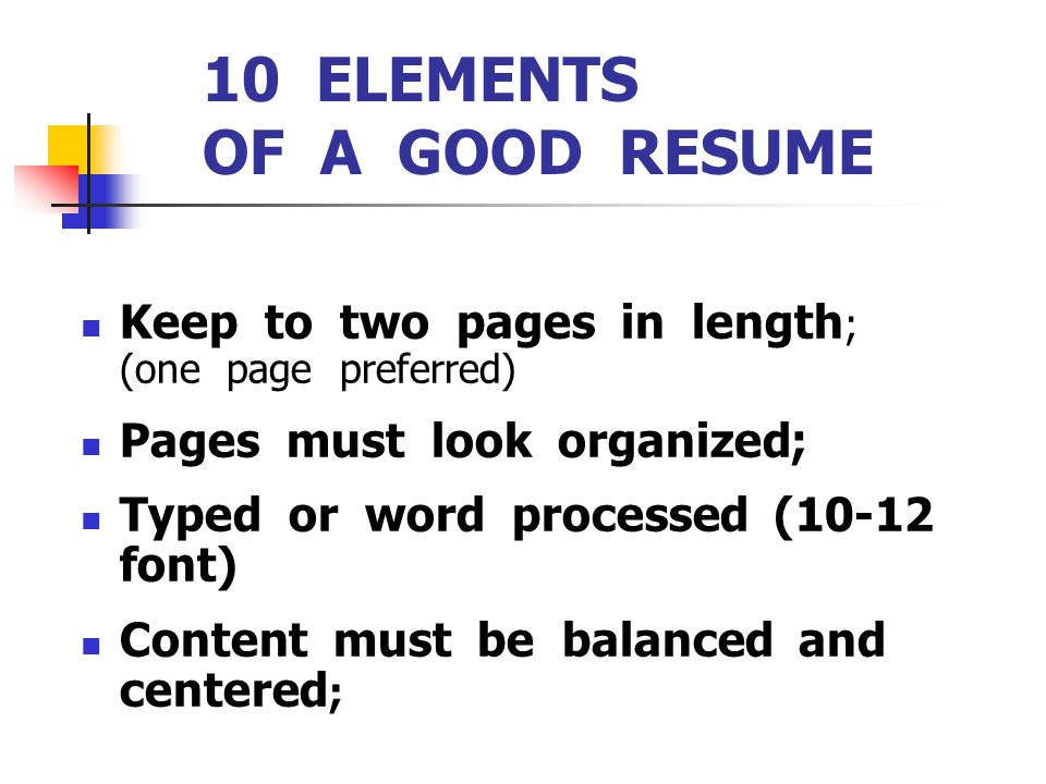 Elements Of A Good Resume cvfreepro