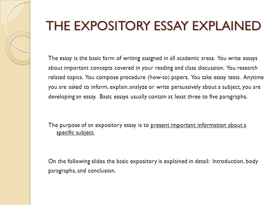 Expository Essay Junior Essay Choose one of the following topics - expository essays