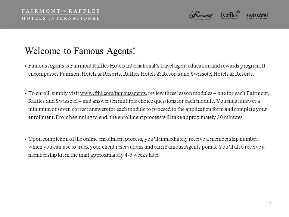 Famous Agents Travel Agent Education  Rewards Program February ppt - travel agent form