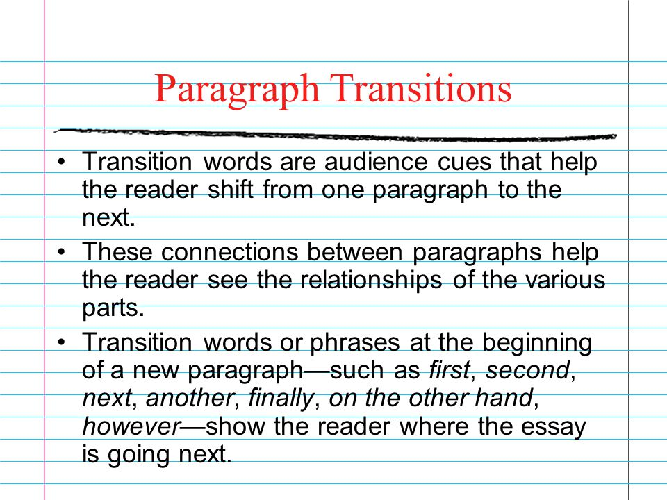 Starting transition words for essays Coursework Service - transition to start a paragraph