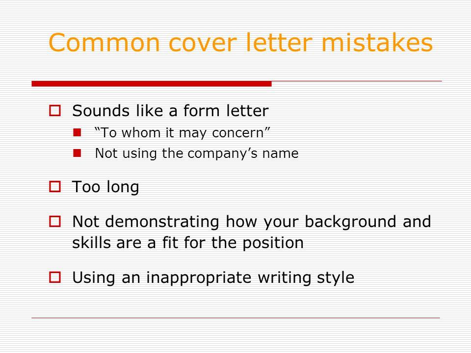 Common cover letter errors itenpl - cover letter mistakes