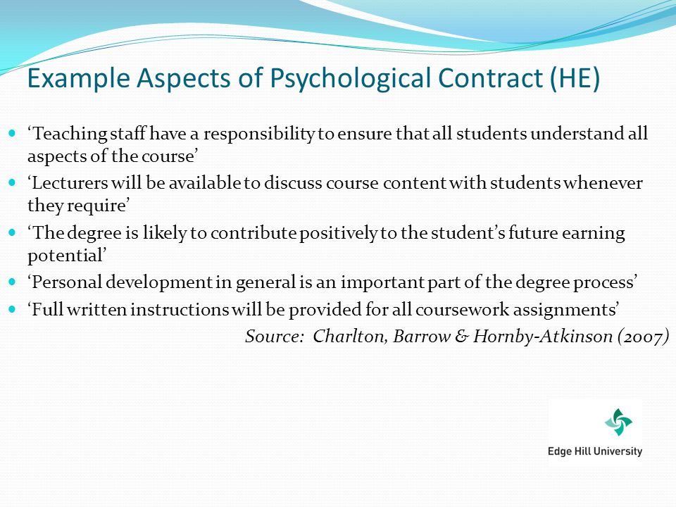 Exploring the Psychological Contracts of first year students and - Student Contract Templates