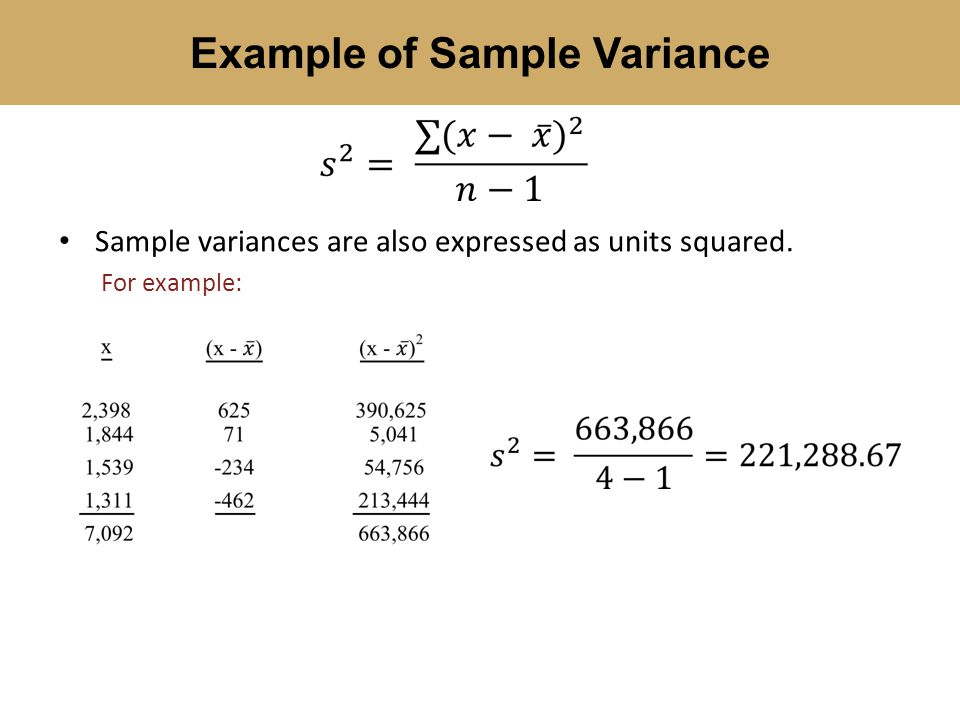 Sample Variance Example