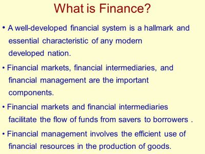Learning Objectives Define finance and its major areas and opportunities. Review the basic forms ...
