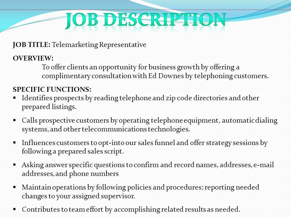 amazing telemarketing resume job description gallery simple