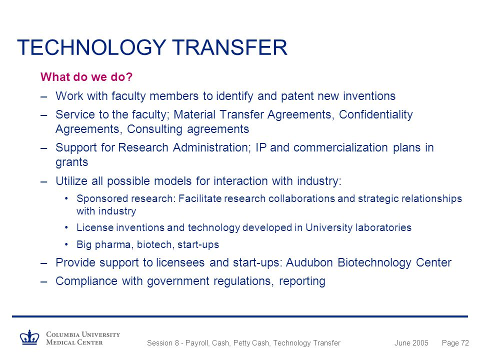 Columbia University Medical Center - ppt download - transfer agreements