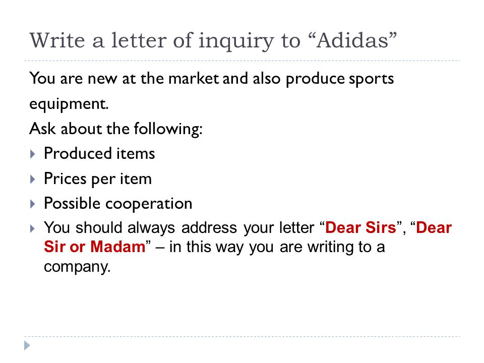 LETTERS OF INQUIRY (ENQUIRY) - ppt video online download - inquiry letter