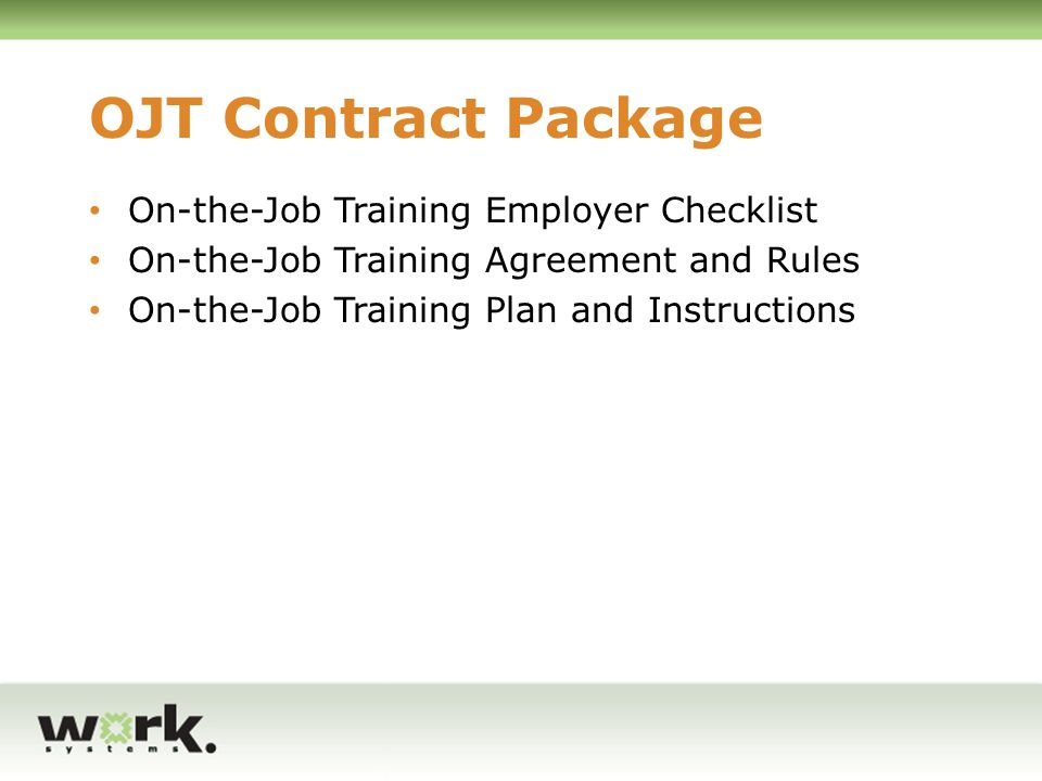 Presented by Jesse Aronson of Worksystems, Inc - ppt download - training agreement contract