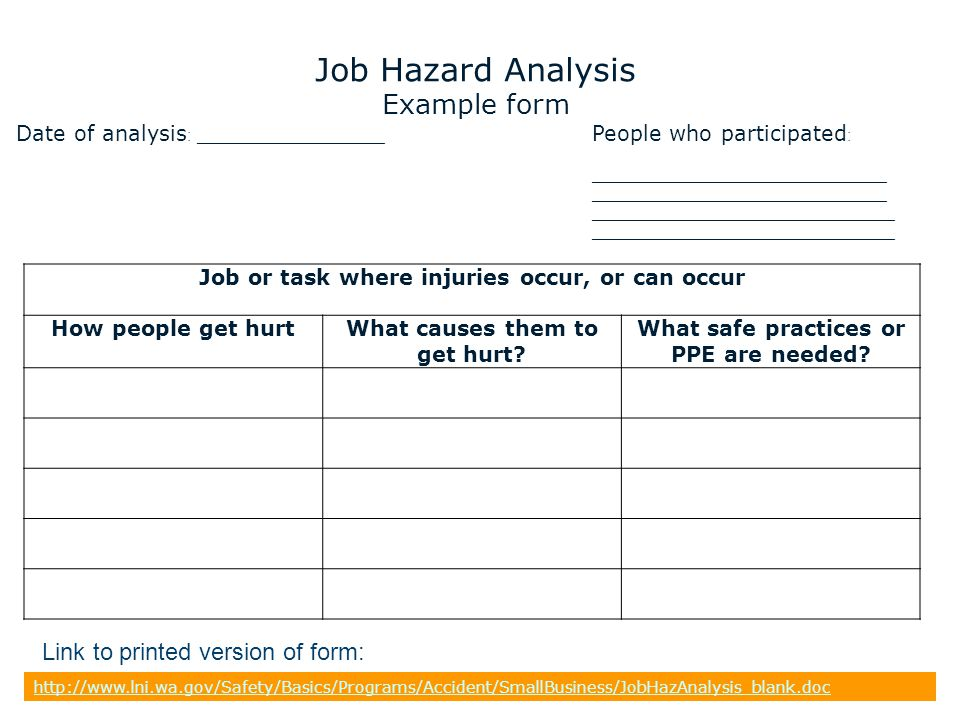 Job Hazard Analysis Form - hazard analysis template