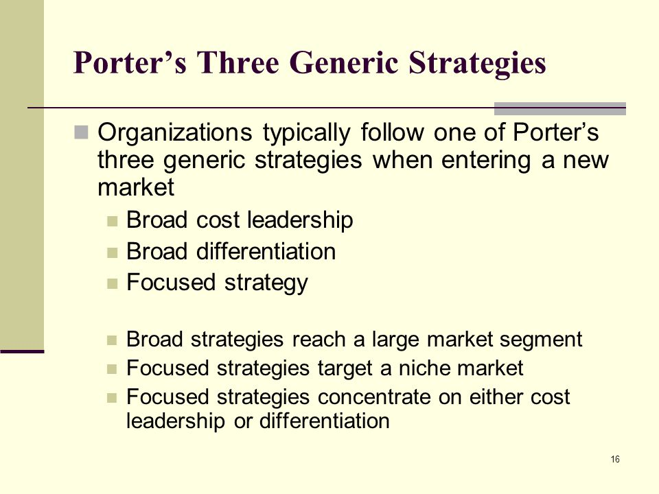 Identifying Competitive Advantages - ppt video online download - porter's three generic strategies
