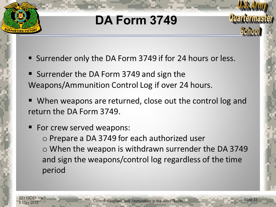 Control Weapons and Ammunition in the - ppt video online download - da form