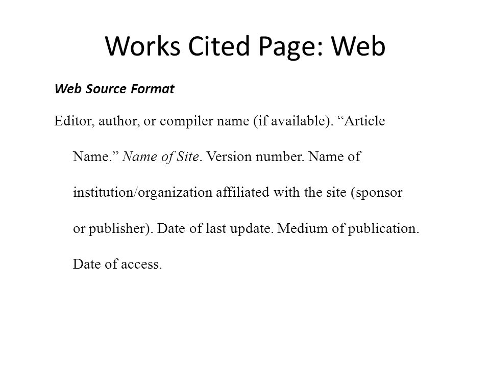 Example of cited sources website - MLA Citation Handout (7 Edition