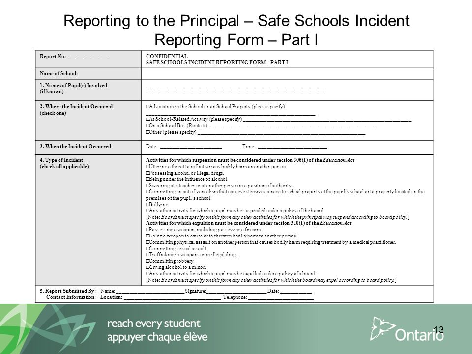 school incident report form - Onwebioinnovate - incident reporting form
