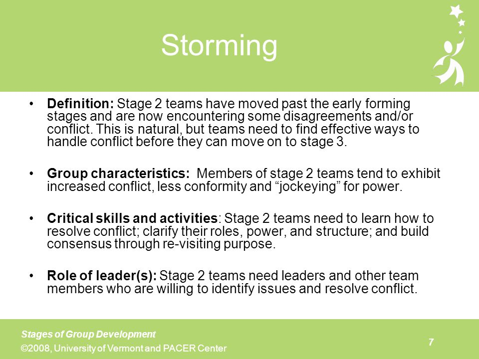 The definition of team the stages of development and the