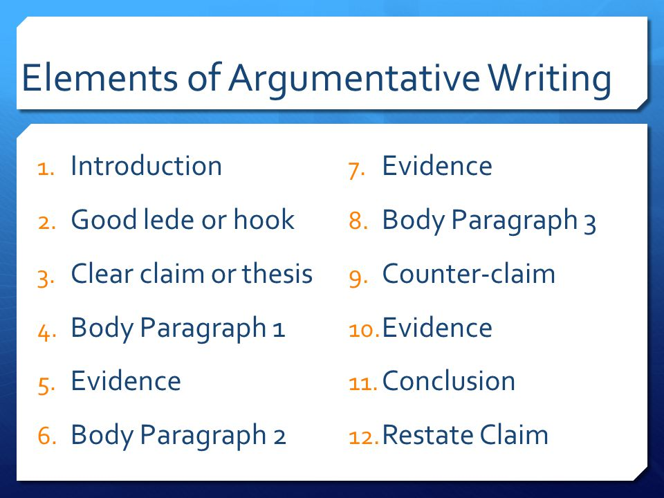Elements of an argumentative essay, Homework Help - essay writing elements