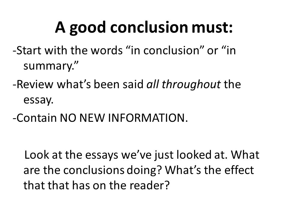Essay Conclusion Starting Words