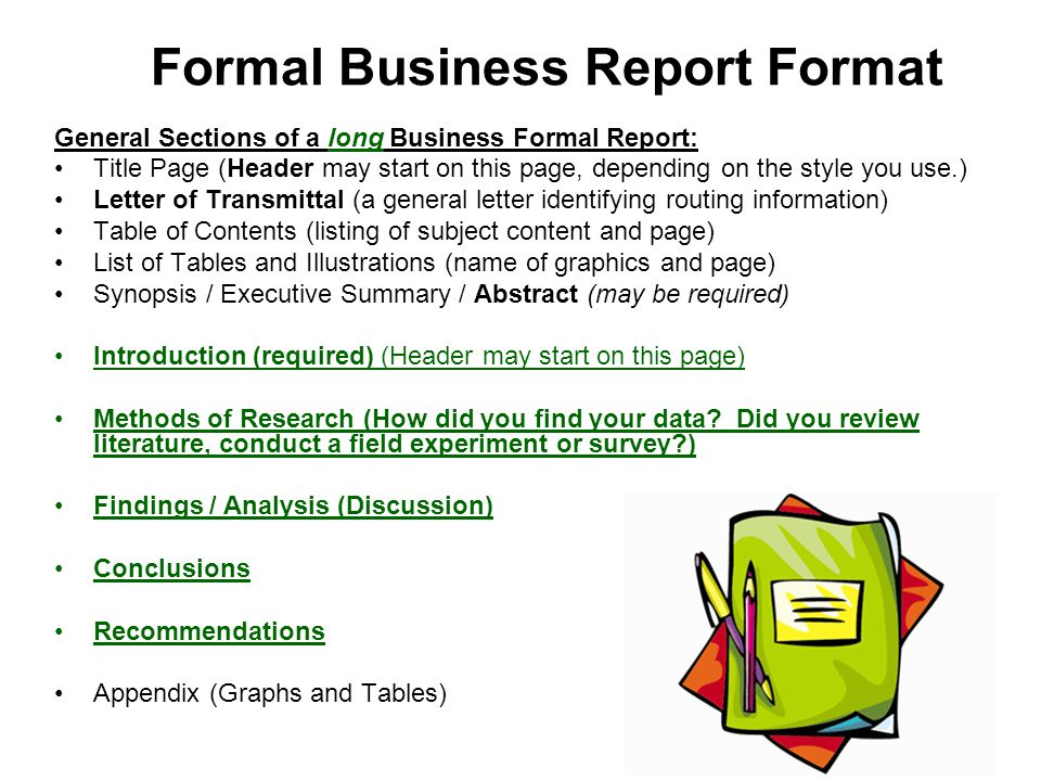 formal business report example – Format of a Business Report