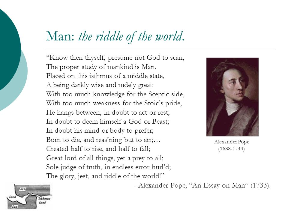 An essay on man alexander pope know then thyself