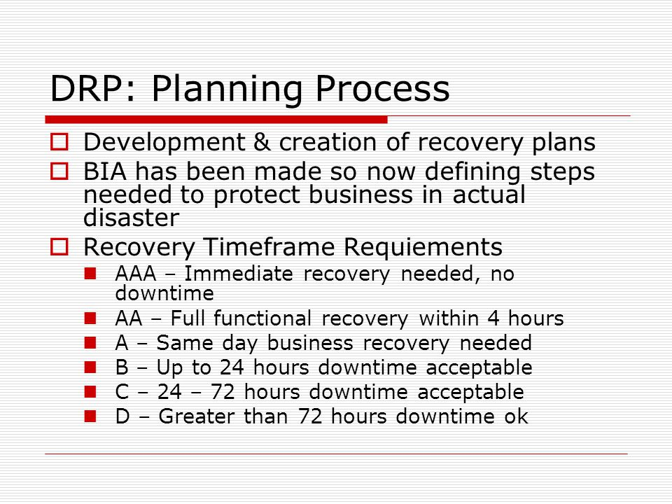 Business Continuity \ Disaster Recovery - ppt video online download - recovery plans