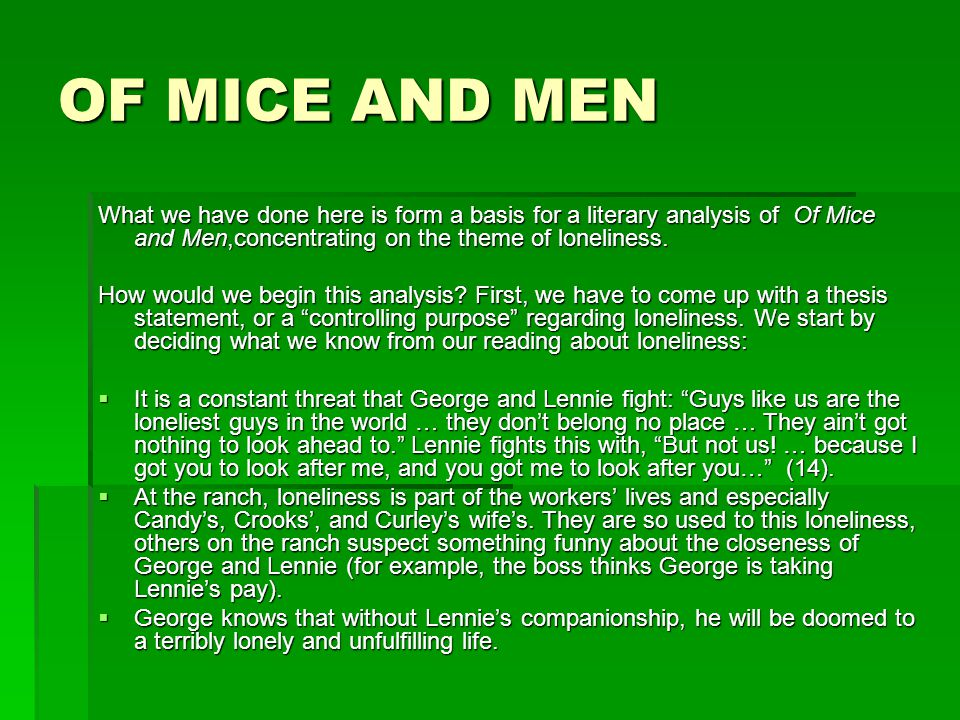 of mice and men essay on loneliness of mice and men character study