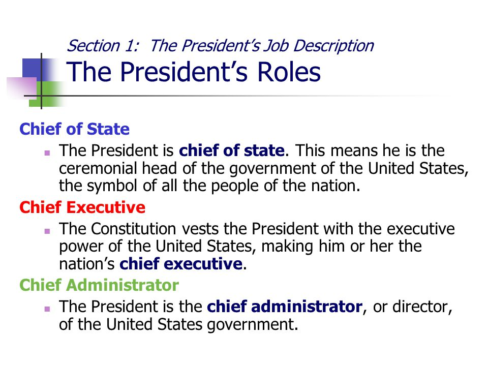 The roles and responsibilities of the united states president Term