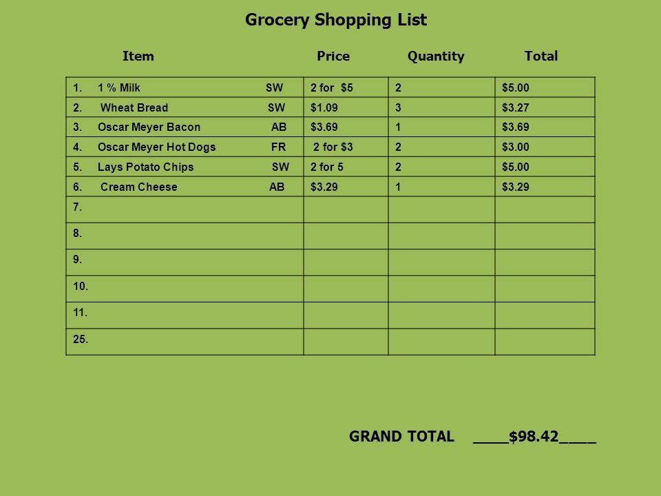 total 10 shopping list