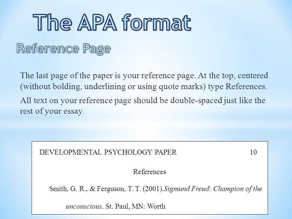 apa format references example This sample paper includes a title page, sample assignment page and references list in apa format it can be used as a template to set up your assignment.