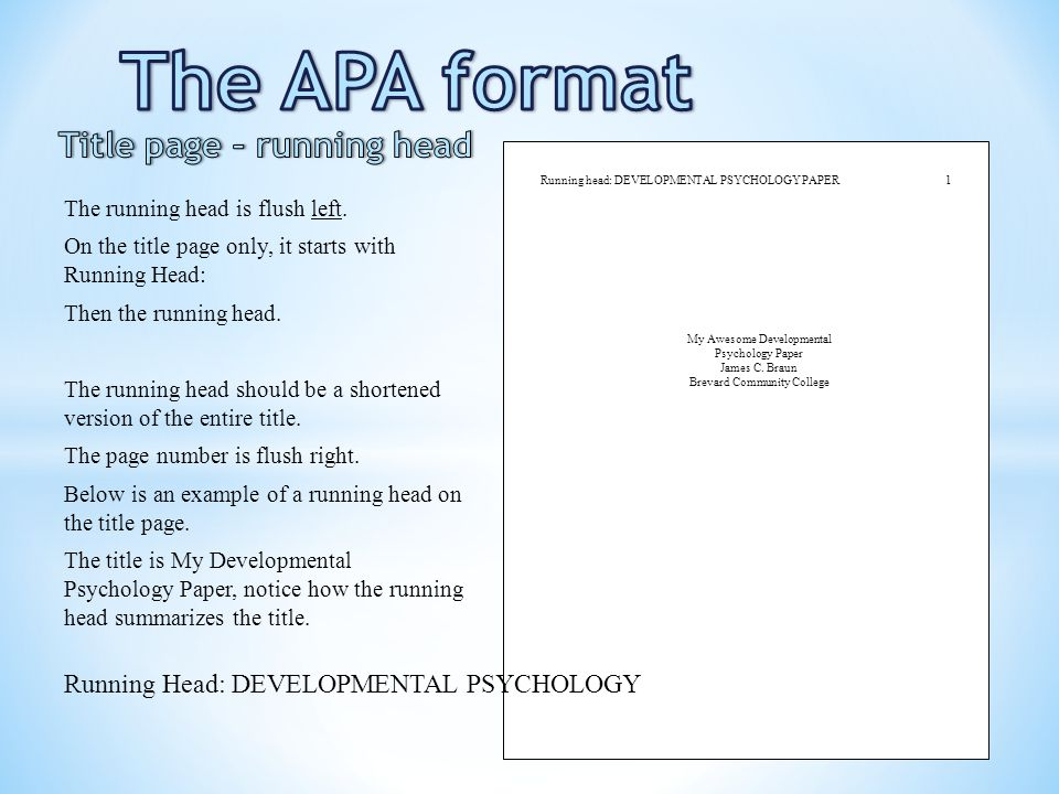 apa format running head example \u2013 Tips For Life - running title scientific paper
