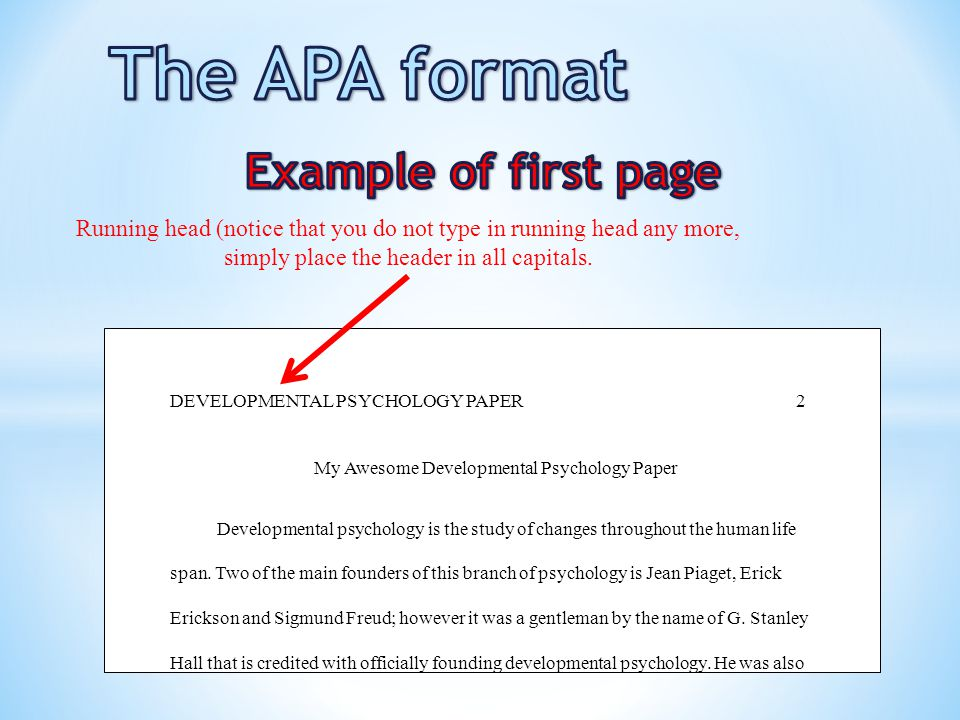 The APA format Title page - ppt video online download - running title scientific paper
