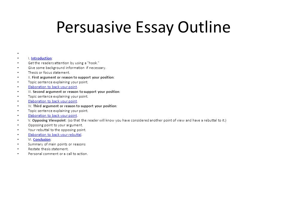 General outline for a persuasive essay Research paper Academic