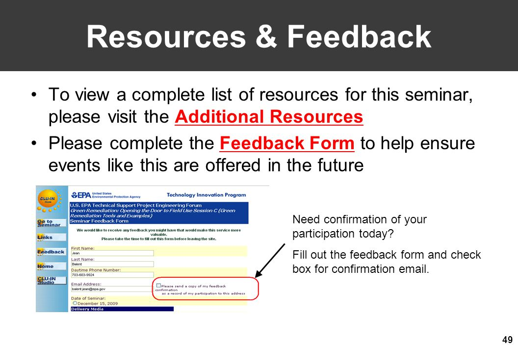 Welcome to the CLU-IN Internet Seminar - ppt video online download - seminar feedback form