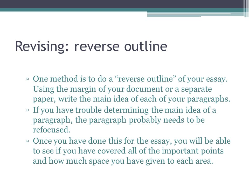 Revising Essay Important