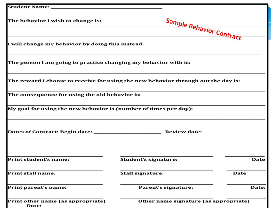 Sample Behavior Contract Student Reflection Contract Free - sample behavior contract