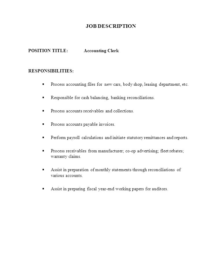 CORPORATE HEALTH AND SAFETY POLICY - ppt download - accounting clerk job description