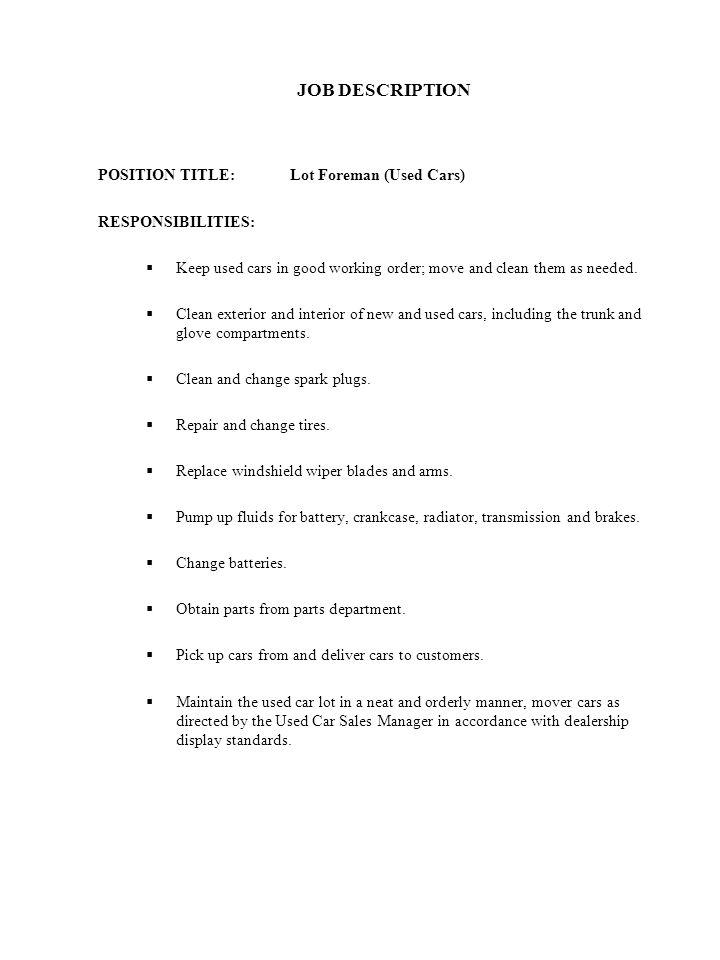 car salesman job description plainresume car sales job description - Car Salesperson Job Description
