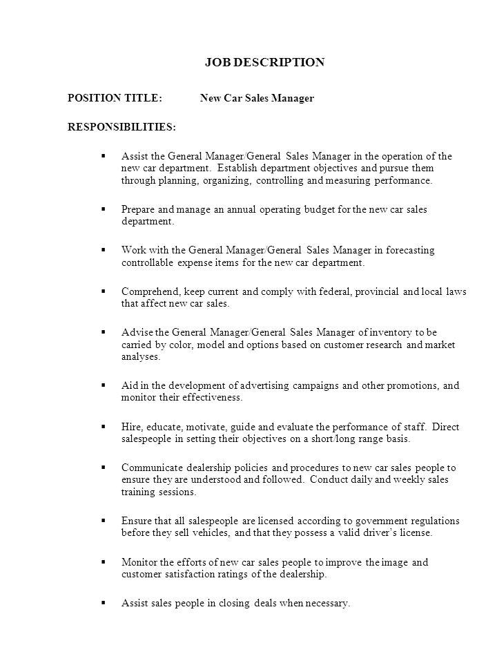 sales promotion manager job description hashdoc for 25 mesmerizing - car sales job description