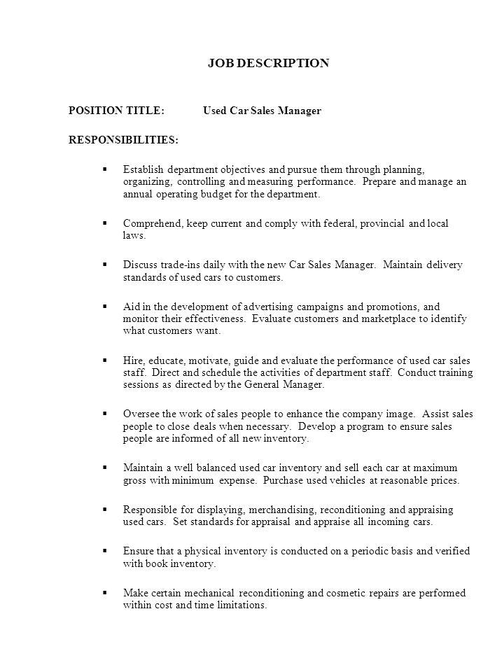 car salesman job description - Car Salesperson Job Description