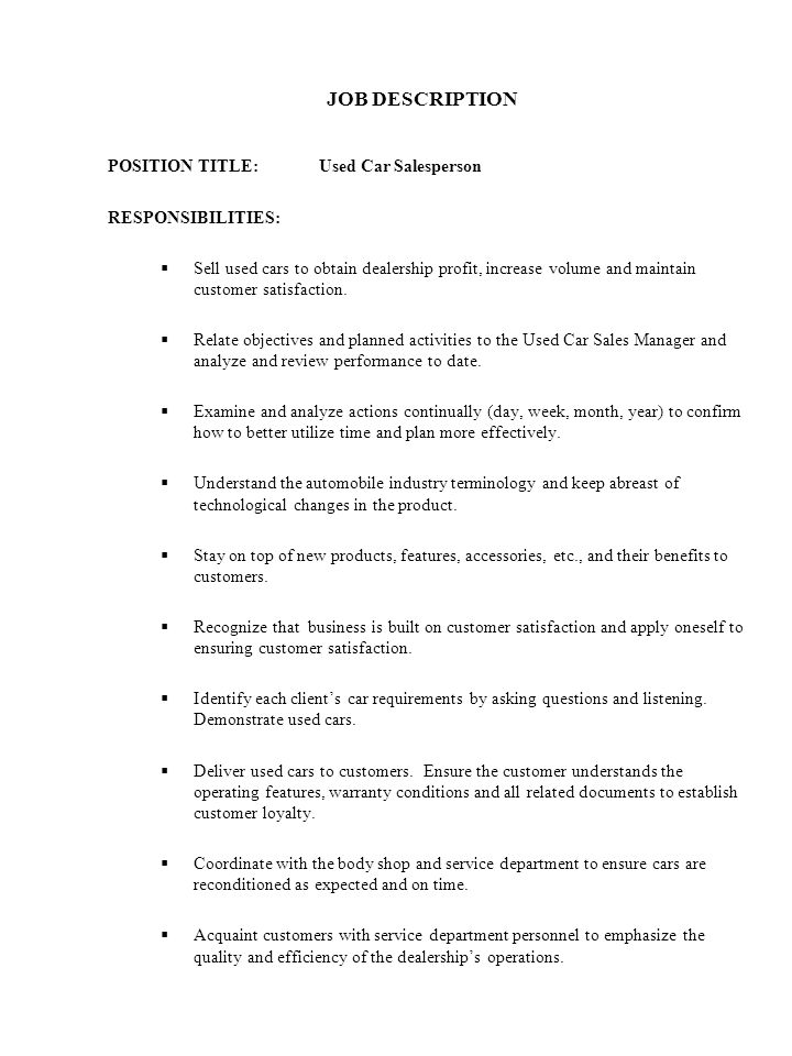 CORPORATE HEALTH AND SAFETY POLICY - ppt download - car salesman job description