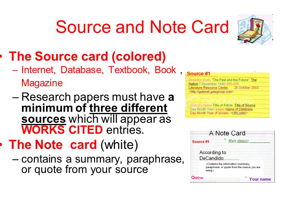 Source cards for a research paper Custom paper Sample - March 2019