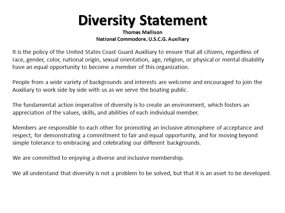 Agenda Commandant\u0027s Objectives Auxiliary Diversity Policy Statement