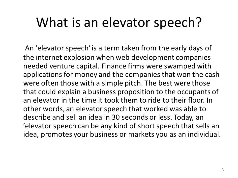 how to prepare an elevator speech - Josemulinohouse